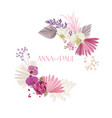floral wreath with watercolor flowers tropical vector image vector image