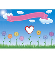 Flower with heart sky and ribbon vector image vector image