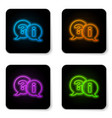 glowing neon speech bubbles with question and vector image vector image