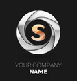 golden letter s logo symbol in the circle shape vector image vector image