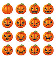 halloween pumpkin decoration scary faces smile vector image