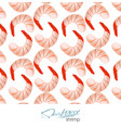 hand drawn seafood seamless pattern shrimp vector image