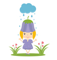happy small girl in flower hat vector image vector image