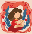 happy valentines day with girl reading love vector image