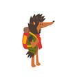 hedgehog travelling with backpack cute cartoon vector image