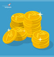 indian rupee gold coin stack vector image