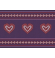 Jacquard pattern with red hearts on purple vector image vector image