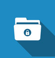locked folder icon isolated with long shadow vector image vector image