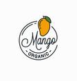 mango fruit logo round linear logo vector image vector image
