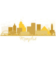 memphis city skyline golden silhouette vector image