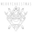 merry christmas line art tribal symbol vector image