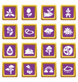 nature icons set purple square vector image vector image