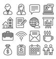 office and business icons set on white background vector image vector image