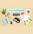office workplace top view vector image vector image