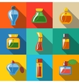 Perfume flat icons set different shapes of vector image vector image