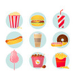 retro fast food icons vector image