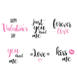 romantic calligraphy inscriptions set manual text vector image