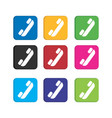 set colorful call phone icon for smart phone vector image vector image