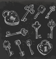 Set of isolated keys in sketch style on dark vector image