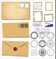 set vintage post stamp symbols vector image