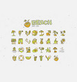 summer tropical beach icon collection hand draw vector image vector image
