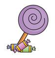 sweet lollipop with candies vector image vector image