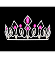 Tiara crown womens wedding with pink stones vector image