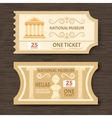 Two Vintage Museum Tickets vector image