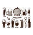 vintage set beer objects old wooden mug vector image vector image