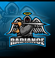 warrior angel esport mascot logo design vector image vector image