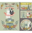 Wedding invitationAutumn leavesdressesEiffel vector image vector image