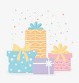 wrapped gift boxes with bow confetti party vector image vector image