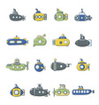submarine icons set cartoon style vector image