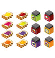 3d design for bread and different flavors of jam vector image vector image