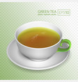 a cup of green tea isolated on transparent vector image