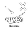 alphabet letter x coloring page xylophone vector image vector image