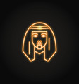 bedouin man icon in glowing neon style vector image