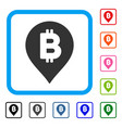 bitcoin map marker framed icon vector image vector image
