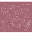 Bull cock goat horse pig rabbit sheep vector image vector image