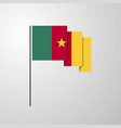 cameroon waving flag creative background vector image vector image