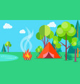camping time in summer template poster with tent vector image