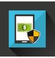 cartoon smartphone bill cash money safe protection vector image