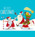 christmas design with cartoon santa claus and vector image vector image