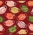 christmas face masks seamless pattern vector image