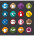 christmas flat icons white vector image vector image