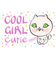 cool girl cutie little white cat vector image vector image