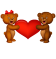 Couple baby bear holding red heart vector image vector image