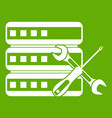 database with screwdriver and spanner icon green vector image vector image