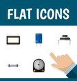 flat icon technology set of resistor mainframe vector image vector image