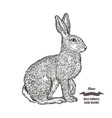forest animal hare or rabbit hand drawn black ink vector image
